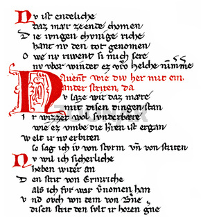 Middle High German heroic epic poem, Rabenschlacht, Raven Battle, 13th Century,