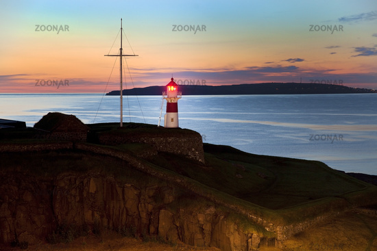 Skansin Lighthouse in the evening, historic fortress, Tórshavn, Streymoy, Faeroeer, Denmark, Europe