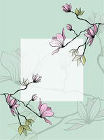Magnolia branch leaves greeting in beautiful style on white background. Wedding floral decoration. Abstract background. Vector romantic floral illustration
