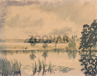Teich Aquarell