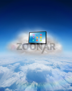 Composite image of laptop on floating cloud