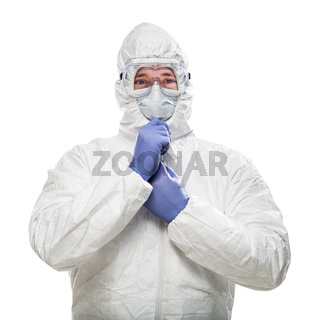 Man Wearing Hazmat Suit, Goggles and Medical Face Mask Isolated On White