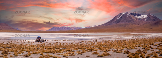 Spectacular sunset over Altiplano, Bolivia