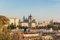 Madrid Spain, sunset city skyline at Cathedral de la Almudena