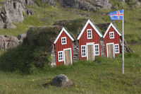 Miniature icelandic houses with flag