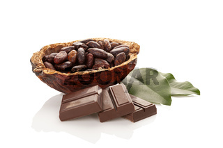 Cocoa beans, leaves and chocolate on white background
