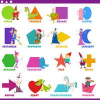 basic geometric shapes with fantasy characters set