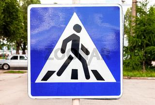 Pedestrian crossing warning traffic sign