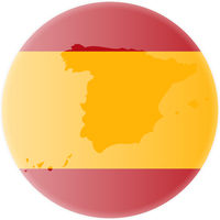 round spanish flag and map of spain outline sticker