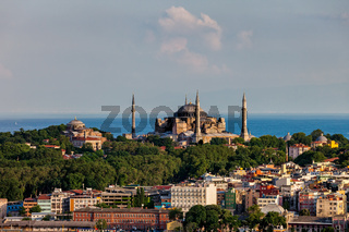 City Of Istanbul Cityscape With Hagia Sophia