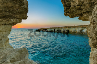 Famous Sea Caves at sunset in Ayia Napa Cyprus
