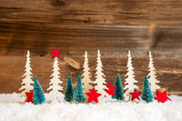 Christmas Tree, Snow, Red Star, Copy Space, Wooden Background