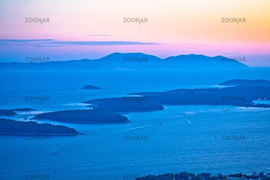 Pakleni Otoci archipelago and Vis island sunset view,
