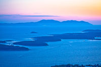 Pakleni Otoci archipelago and Vis island sunset view,