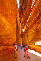 Walking tourists in Petra