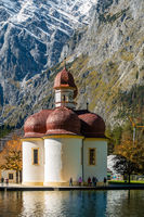 The famous St. Bartholomae Monastery at Lake Königsee, Berchtesgarden NP, Germany