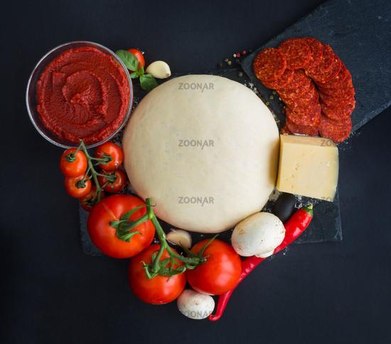 Pizza ingredients heart