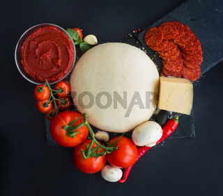 Pizza ingredients heart