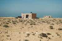 a dwelling next to the road at the atlanic coast of Morocco