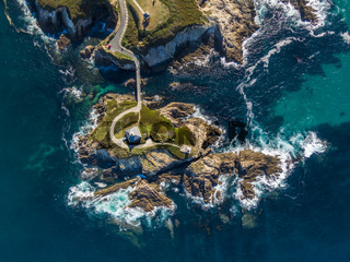 Aerial view of the Pancha Island in Galicia