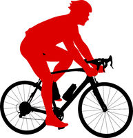 Silhouette of a sports cyclist on a white background