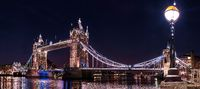 panoramic view on tower bridge in London at night