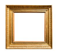 horizontal wide old wooden painting frame isolated