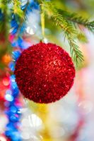 Close-up of holiday ornament for celebration Happy New Year. Shining red Christmas ball on pine tree