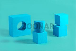 Geometric blue shapes.