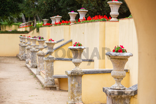 flowers in the Park with walls and arches