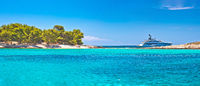 Pakleni Otoci arcipelago beach and superyacht panoramic view