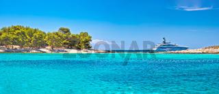 Pakleni Otoci arcipelago beach and superyacht panoramic view