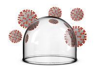 glass dome around and coronaviruses