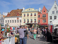Arts and crafts market on the town hall square in the Estonian capital Tallinn