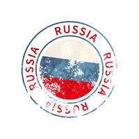 Russia sign, vintage grunge imprint with flag on white