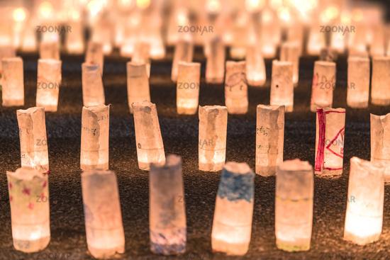 Handmade japanese rice paper lanterns illuminating the ground of the Zojoji temple near the Tokyo To