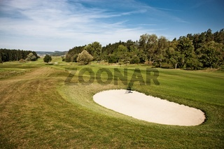 Sand bunker on a golf course