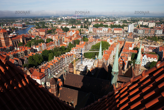 Gdansk City Cityscape From St Mary Church