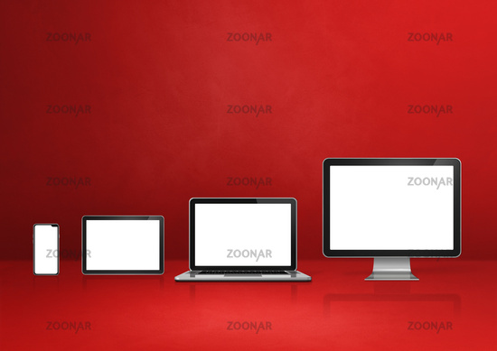 computer, laptop, mobile phone and digital tablet pc. red background