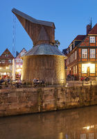 Hanseatic port with the wooden treading crane in the evening, old town, Stade, Lower Saxony, Germany