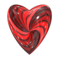 red heart swirl glass sphere