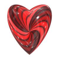 red heart swirl glass sphere