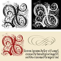 Decorative Gothic Letter X. Uncial Fraktur calligraphy.