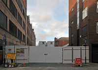 the derelict lyon works on templar lane leeds during redevelopment as part of the victoria quarter area
