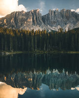 Carezza lake Lago di Carezza and Mount Latemar in Dolomites Alps Italy in Summer