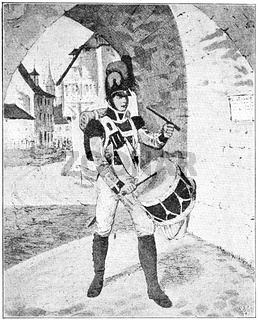 Bavarian drummer (1809). Illustration of the 19th century. Germany. White background.
