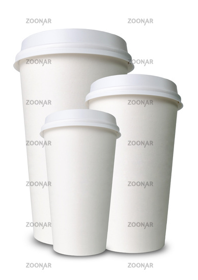 three differently sized paper cups one behind the other against a white background