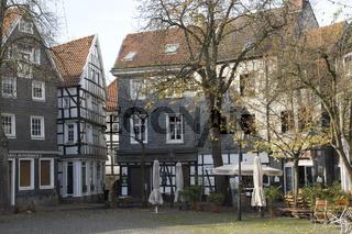 Historische Gebäude am Kirchplatz in Hattingen, NRW, Deutschland