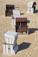 Beach chairs on the beach of Bansin on the German Baltic coast on the island of Usedom