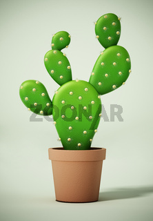 Cactus in the pot on green surface. 3D illustration